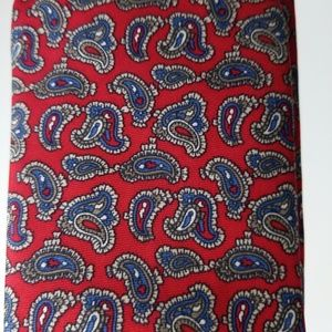 YSL Red Blue Paisley Tie Silk Luxury Necktie